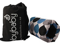 Portable BabyBaby nursing sleeve with a black, blue and grey raindrops on it
