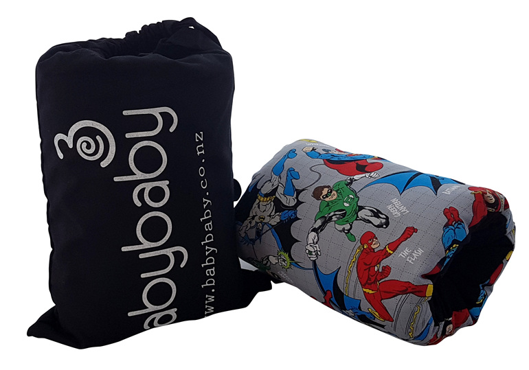 Portable BabyBaby nursing sleeve with a super hero print on it