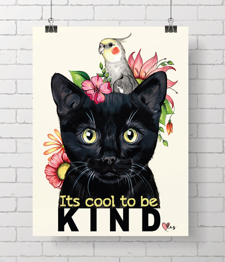 Poster - Kitty,  It's cool to be kind!