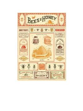 Poster or Gift Wrap - Bees & Honey
