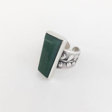 Pounamu and Kowhai Cuff Ring No-2
