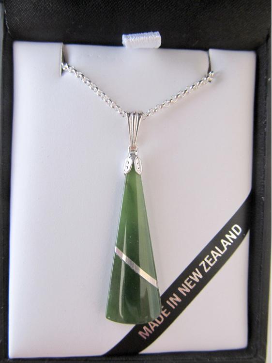 Pounamu or New Zealand Greenstone Silver thread  pendant