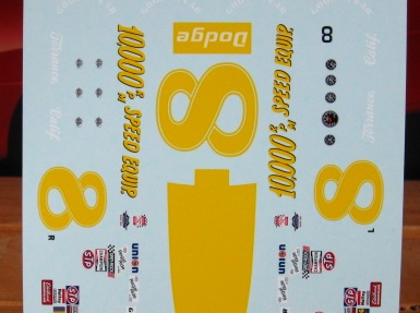 Powerslide 1/25 #8 10,000RPM Earnhardt 75 Charger Decals (PWR340)