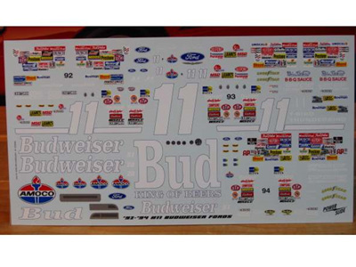 Powerslide 1992-94 Bill Elliott Budweiser Nascar Decals