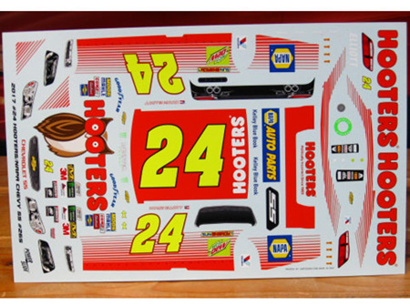 Powerslide 2017 Hooters Chevy SS Nascar Chase Elliott Decals