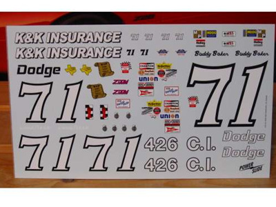 Powerslide Decals - 71 K&K Insurance Dodge 1/16 scale Dodge Nascar
