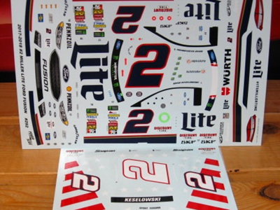Powerslide Miller Lite Ford Fusion/Patriotic 2017/18 Decals