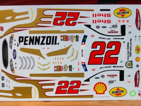 Powerslide Shell Pennzoil Ford Fusion Joey Logano 2017 Coca Cola 600 Decals
