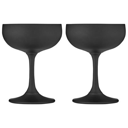 PRE ORDER   Aurora Matte Black Coupe Glass 2pk