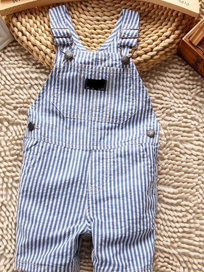 Pre Order Blue and white stripped dungarees