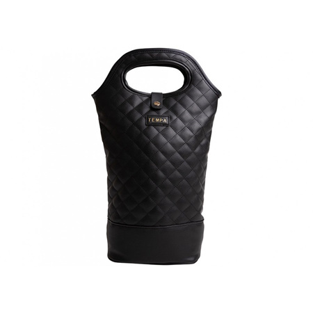 PRE ORDER   Tempa Quilted Insulated Double Wine Bag Black