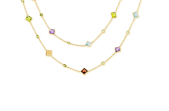 Precious stone necklace in 18ct Yellow Gold