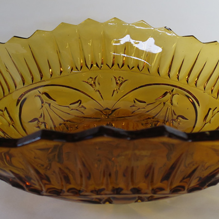 Pressed amber glass bowl