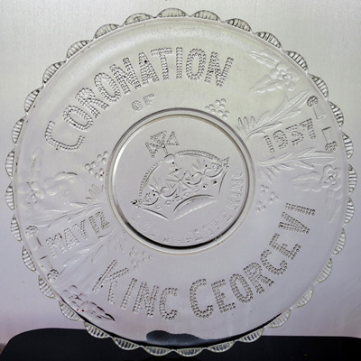Pressed glass Coronation plate