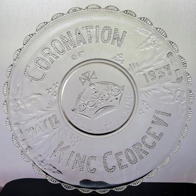 Pressed glass Coronation plate
