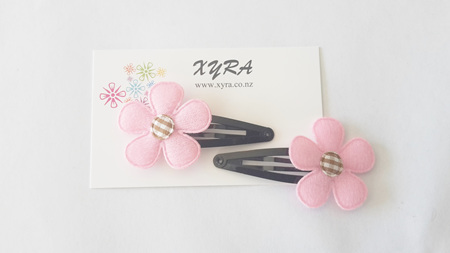 Pretty in Pink Flower Hair Clips (pack of 2 clips)