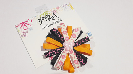 Pretty Orange and Tiger Pattern with Butterfly Accent Bow