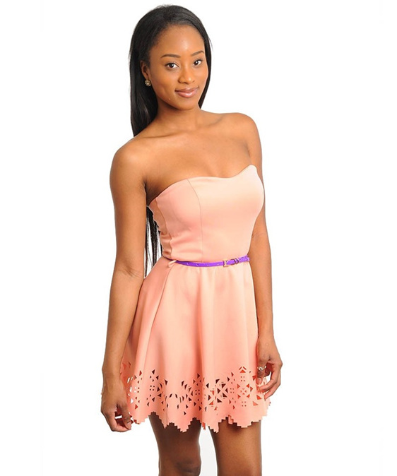Pretty Peach Laser Cut Purple Belt Dress Zambucca S Closet