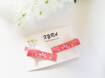 Pretty Pink Floral Hair Clips
