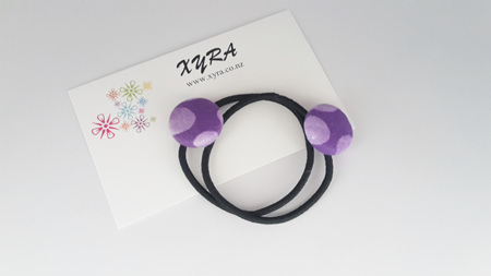 Pretty Purple Polkadot Button Hair Ties