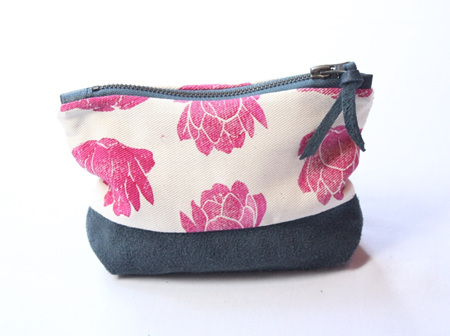 Prickly Pear Pouch with Leather Detail