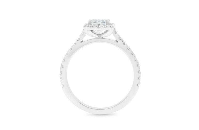 Princess cut diamond engagement ring with diamond set band, platinum