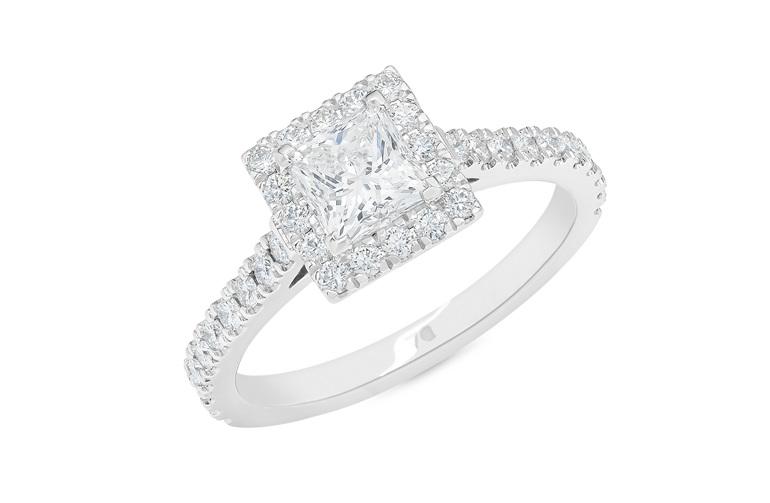 Princess cut diamond engagement ring with diamond set band