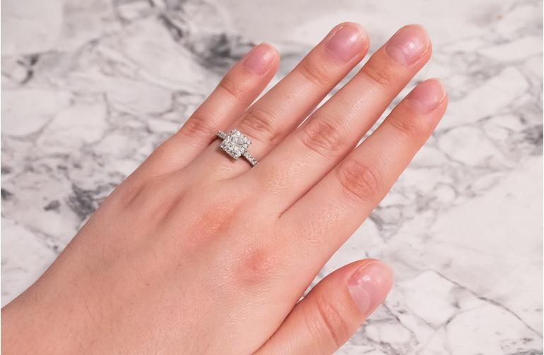 Princess cut diamond halo engagement ring, princess cluster engagement ring