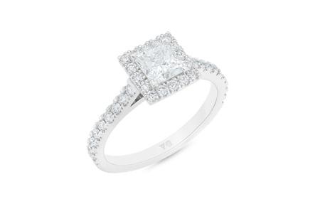 Princess Cut Diamond Halo Ring with Diamond Set Band