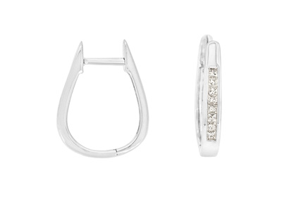 Princess Cut Diamond Huggie Hoop Earrings