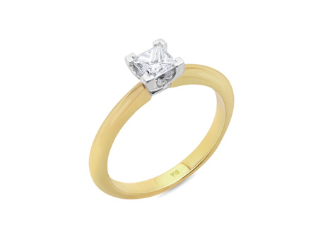 Princess Cut Knife Edge Diamond Solitaire Ring