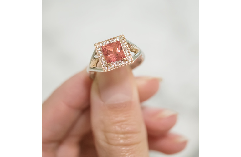 princess cut peach sapphire and diamond cluster ring in rose and white gold