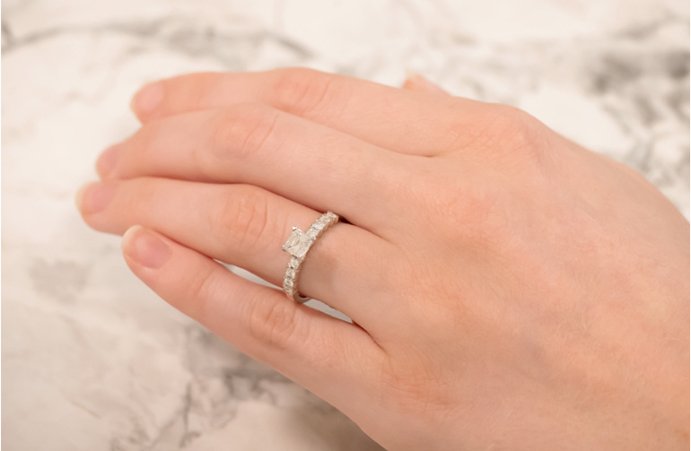 Princess Cut Solitaire With Princess Diamond Shoulders Ring