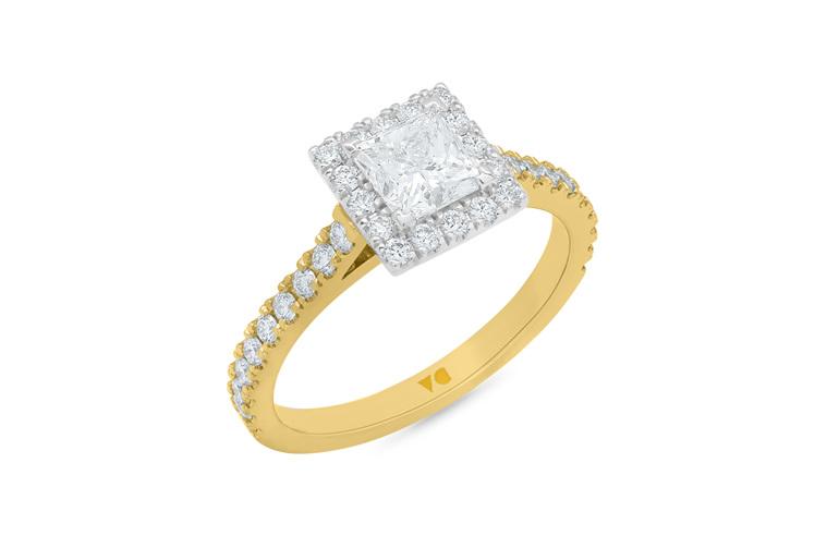 Princess diamond halo engagement ring, 18ct yellow gold, cluster diamond ring