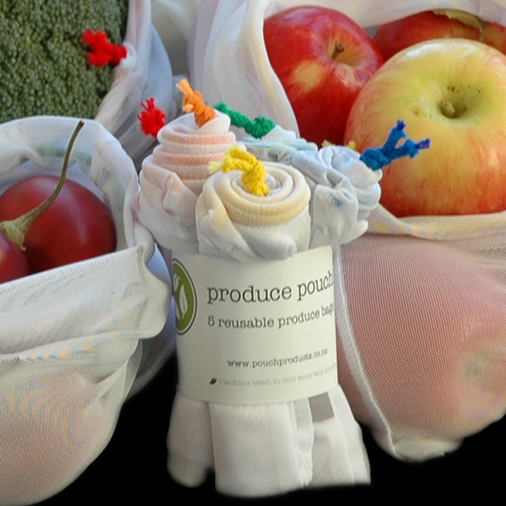 produce pouch - 5 pack with assorted cord colours - reusable produce bag