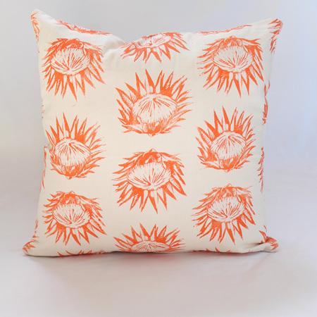 Protea Cushion in Orange