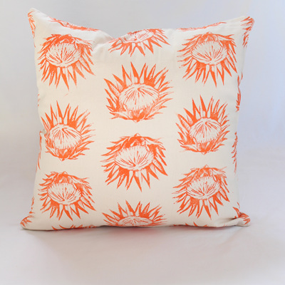 Protea Cushion in Orange