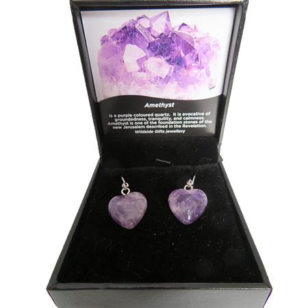 PS 84 Amethyst Heart Drop Earrings