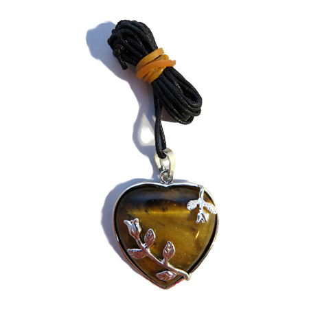 PS31 Tiger's Eye Heart Pendant