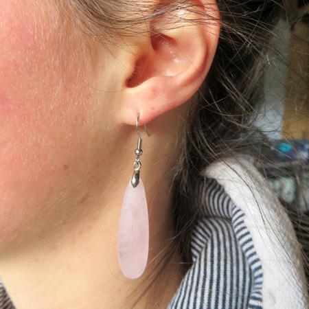 PS55 Rose Quartz Long Earrings
