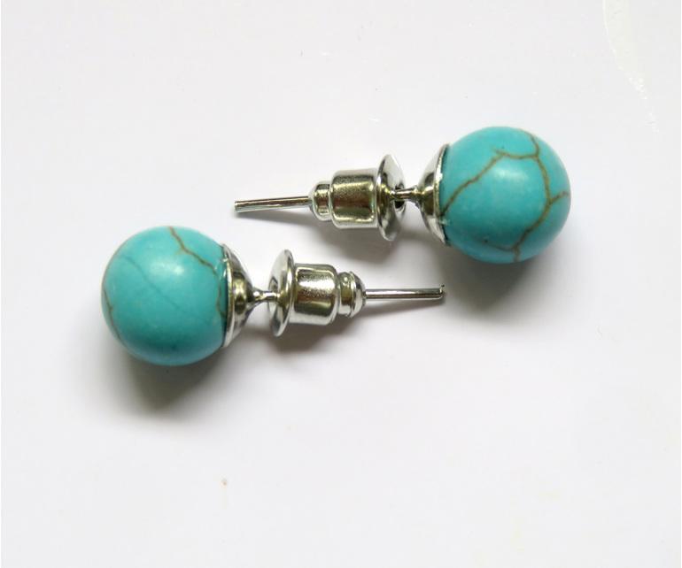 PS67 Blue Howlite stud earrings