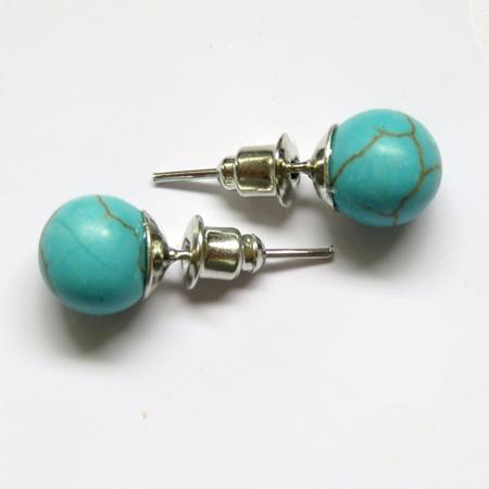 PS67 Blue Howlite Stud Earrings 8mm