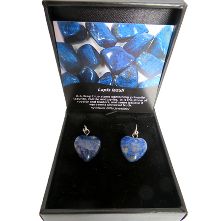 PS87 Lapis Lazuli Heart Shaped Drop earrings