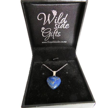 PS91 Lapis Lazuli heart shaped pendant on chain