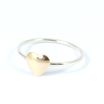 Puffy Brass Heart Ring