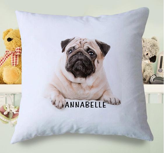 Pug Dog Personalised Cushion Cover