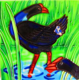 Pukeko 15x15cm New Zealand Ceramic Art Tile