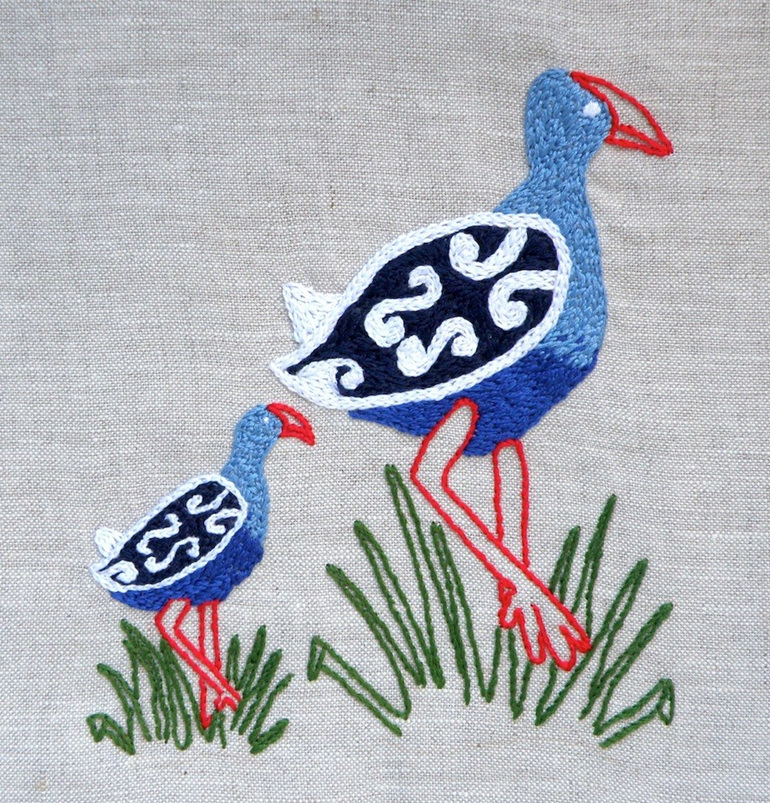 Pukeko and baby emailed embroidery pattern thestitchsmith