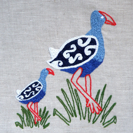 Pukeko and Baby emailed embroidery pattern