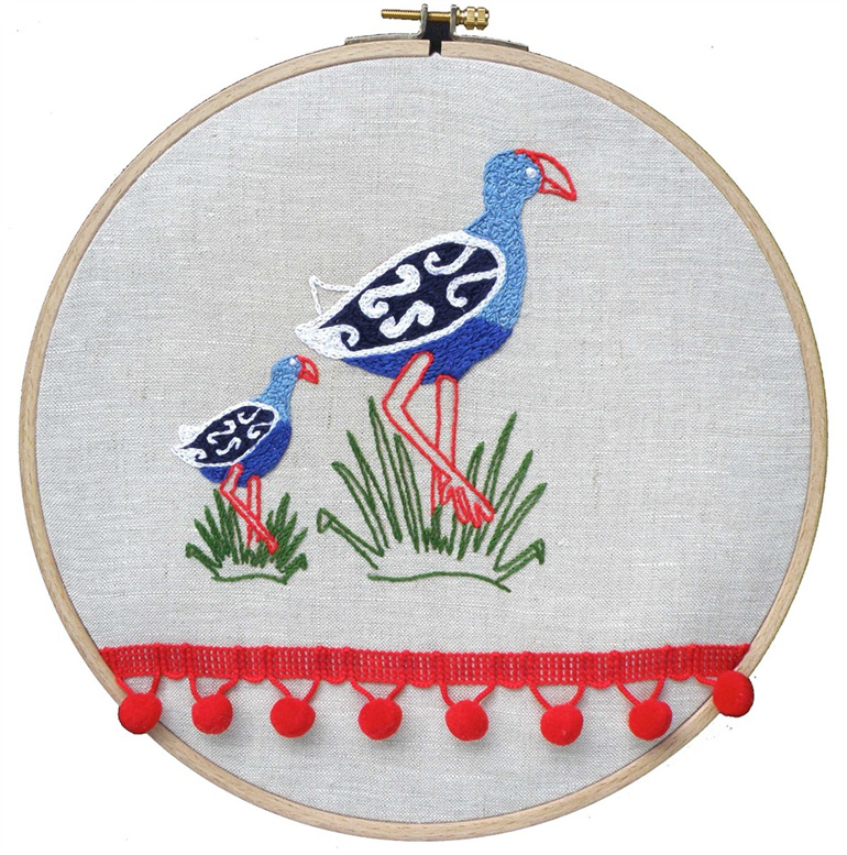 pukeko and baby embroidery kit